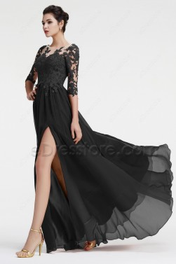 Black Long Sleeve Prom Dress with Slit