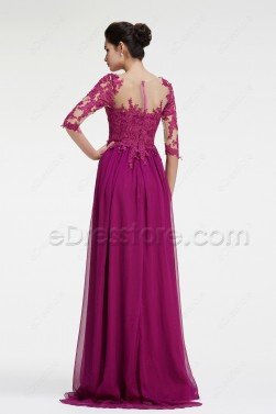 Magenta Bridesmaid Dresses Long Sleeves Modest Formal Dress Plus Size