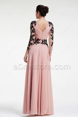 Modest Dusty Rose Prom Dresses Long Sleeves