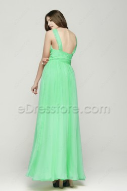 Elegant Green Long Chiffon Prom Dresses