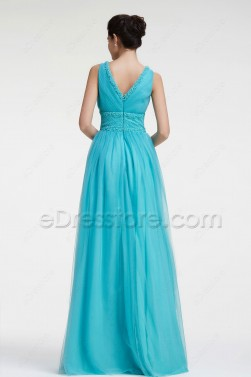 Beaded V Neck Blue Evening Dress Long Prom Dress Plus Size