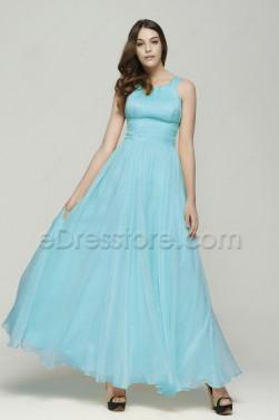 Elegant Sky Blue Flowing Chiffon Prom Dress Long