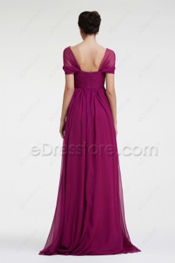 Modest Magenta Maternity Bridesmaid Dresses Cap Sleeves