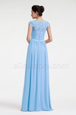 Modest Ice Blue Lace Prom Dress with Cap Sleeves
