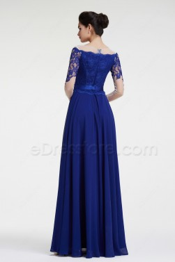 Royal Blue Lace Mother of the Bride Dresses with Sleeves