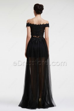 Black Lace Beaded Two Piece Prom Dresses Long