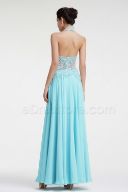 Light Aqua Blue Halter Evening Dress Open Back