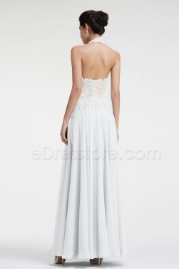 Halter See Through Lace Beach Wedding Dress
