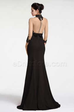 Black Backless Mermaid Evening Dresses Long Sleeves