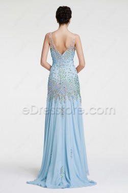 Light Blue Mermaid Crystal Evening Dresses Pageant Dress