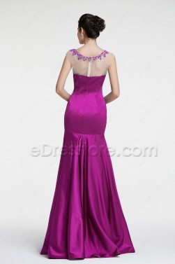 Beaded Fuchsia Mermaid Evening Dresses Formal Dress Cap Sleeve