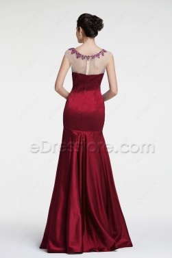 Modest Mermaid Beaded Burgundy Prom Dress
