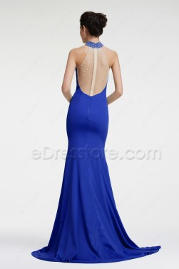 Royal Blue Mermaid Backless Evening Dresses