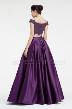 Purple Two Piece Off the Shoulder Pageant Evening Dress Prom Dress