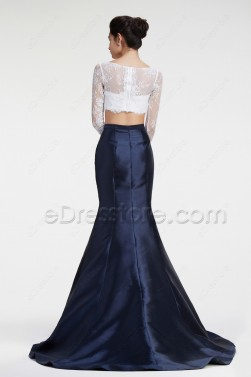 Navy Blue Two Piece Mermaid Prom Dress Long Sleeves