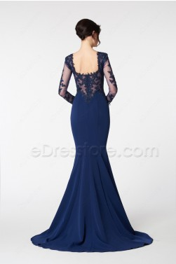 Navy Blue Mermaid Lace Prom Dress Long Sleeves