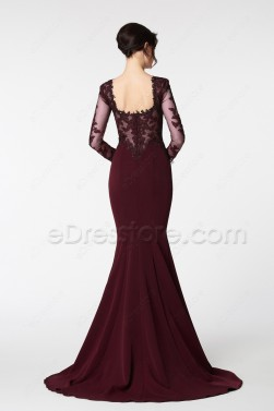 Dark Burgundy Mermaid Prom Dresses with Long Sleeves