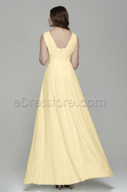 Simple Elegant Soft Yellow Chiffon Long Prom Dresses