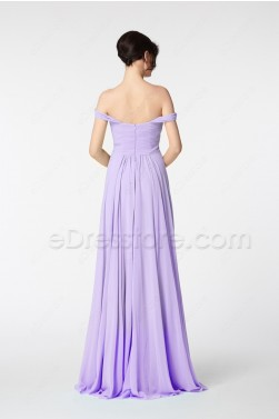 Off the Shoulder Lavender Long Prom Dresses