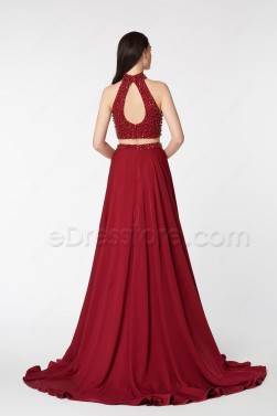 Beaded High Neck Two Piece Burgundy Prom Dress with Slit