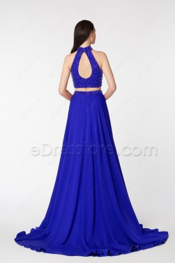 Royal Blue Two Piece Beaded Prom Dresses with Slit