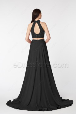 Black Two Piece Beaded Pageant Evening Dress