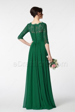 Emerald Green Modest Mother of the Bride Dress with Sleeves Plus Size