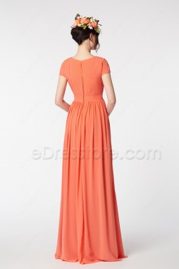 Modest Coral Bridesmaid Dresses Short Sleeves