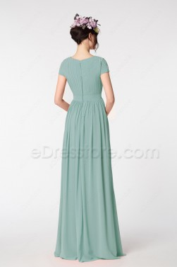 Seaglass Green Modest Formal Dresses Long Evening Dresses