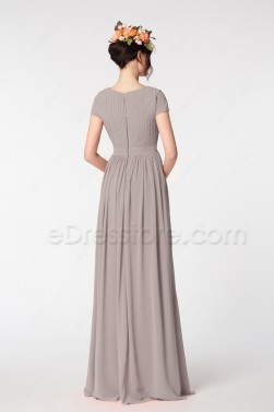 Earth Tone Modest Mother of the Bride Dresses Cap Sleeves