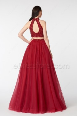 Crystals Sparkly Two Piece Ball Gown Burgundy Prom Dress Long