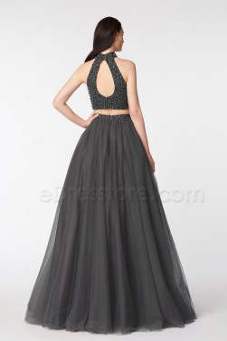 Charcoal Grey Beaded Sparkle Two Piece Prom Dresses