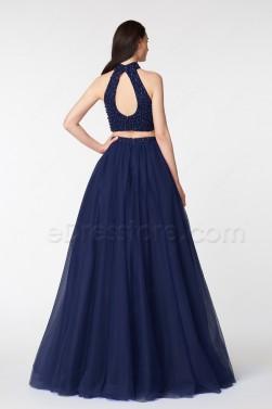 Halter Beaded Navy Blue Pageant Evening Dress Long
