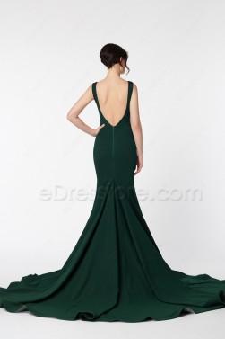 Backless Pageant Evening Dresses Dark Green Mermaid