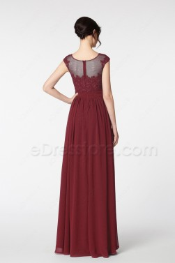 Modest Lace Burgundy Prom Dresses Long