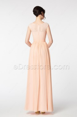 Lace Chiffon Peach Modest Bridesmaid Gown