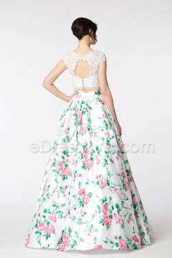 White Ball Gown Long Floral Prom Dresses Cap Sleeves