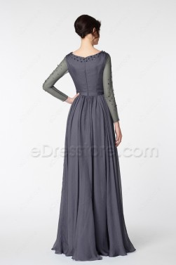 Charcoal Grey Beaded Modest Bridesmaid Dress Long Sleeves