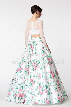 White Ball Gown Two Piece Floral Prom Dresses Long Sleeves