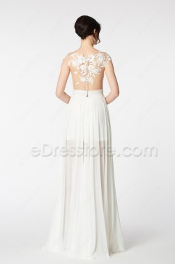 See Through Backless Chiffon Beach Wedding Dress with Slit