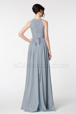 Dusty Blue Bridesmaid Dresses Long