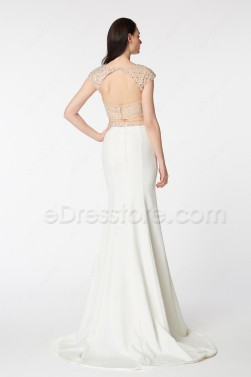 Beaded Sparkle Mermaid Backless Two Piece Long Prom Dress with Slit