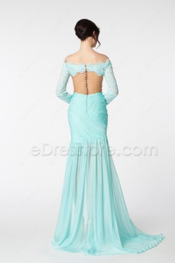 Light Aqua Blue Long Sleeves Prom Dresses with slit