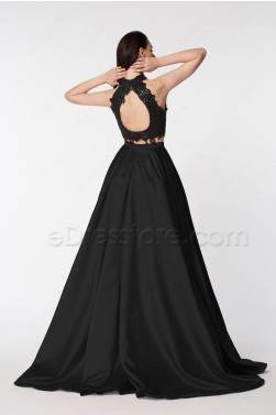 Black Two Piece Homecoming Dresses Long Prom Gown