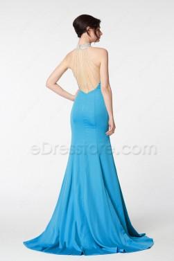 High Neck Sparkle Aqua Blue Mermaid Backless Prom Dresses