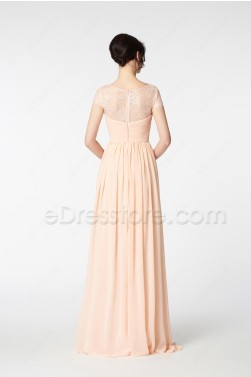 Peach Bridesmaid Dress with Cap Sleeves