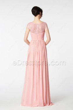 Blush Pink Evening Dress Long Cap Sleeves
