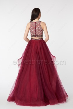 Beaded Sparkle Two Piece Burgundy Ball Gown Prom Dress Long