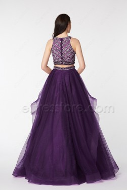Two Piece Crystal Beaded Purple Ruffles Prom Dresses