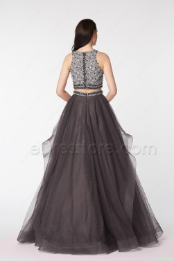 Charcoal Grey Beaded Two Piece Homecoming Dresses